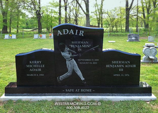 The Adair headstone is designed for a 3 person plot, in black granite with a baseball photo etching.