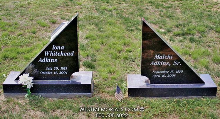 Adkins-black-granite-contemporary-headstones-West-Memorials-custom-headstone-memorial-upright-tribute-companion-nationwide-tombstone-cemetery-graveyard-funeral-family