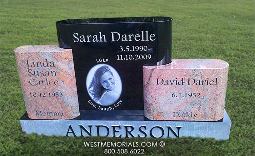 Anderson Black and Pink Contemporary Monument for 3 people by West Memorials