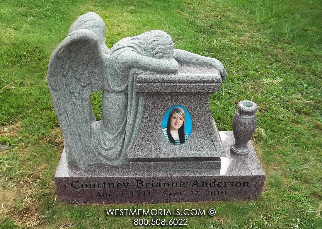 Anderson Weeping Angel  Monument and Headstone Design by West Memorials