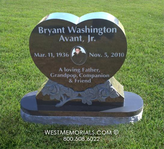 Avant Heart Headstone With Roses Carving by West Memorials