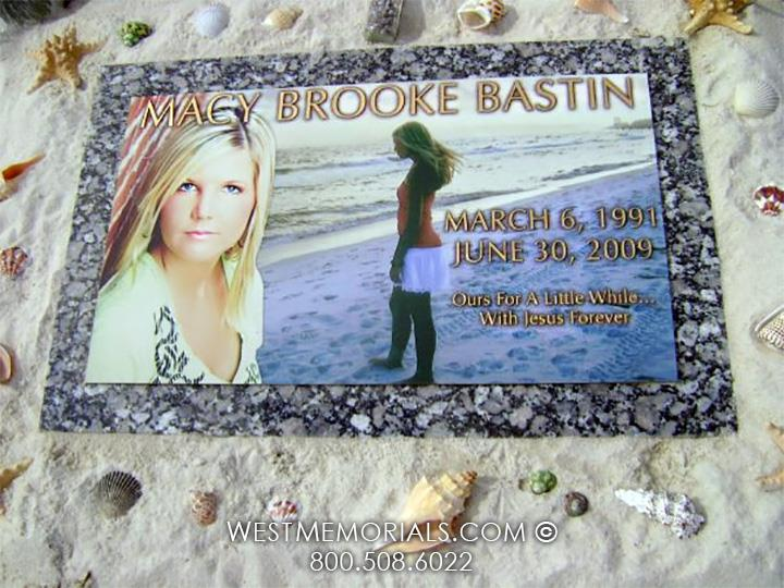 Bastin-custom-bronze-marker-color-portrait-unique-grave-flat-ocean-beach-beautiful-flat-West-Memorials-Love-Markers-Cemetery-brass-graveyard-nationwide-shipping