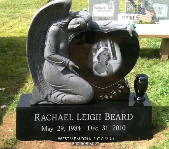 Beard Kneeling Angel Heart Design Carved from Black Granite  by West Memorials
