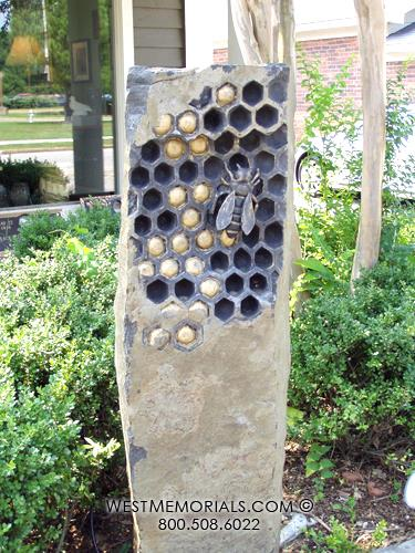 Beehive-monuments-headstones-custom-beautiful-cemetery-gravestones-grave-stones-basalt-bee-garden-art-West-Memorials-honeycomb-unique