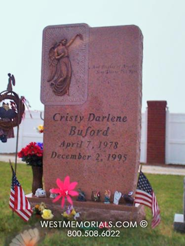 Buford Pink Granite Headstone With a Bronze Angel by WestMemorials