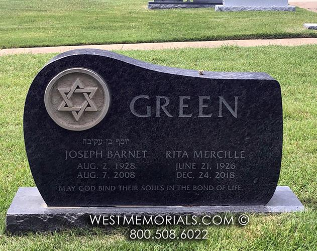 Green-black-star-david-headstone-custom-monument-west-memorials-couple-granite
