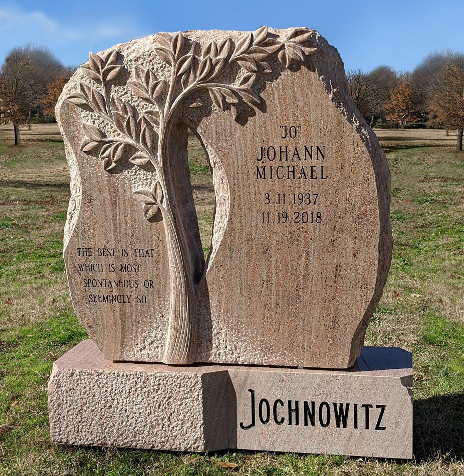 Cemetery headstone monument custom tree design West Memorials