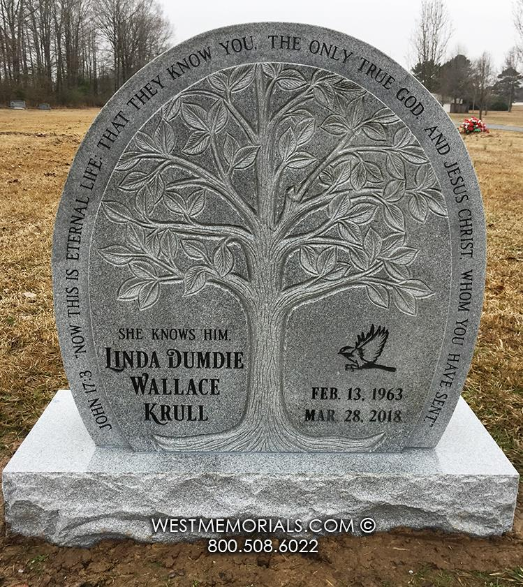 Krull-upright-headstone-West-Memorials-beautiful-tree-gray-granite-memorial-custom-unique-family-religious-cemetery-grave-gravestone-carved-monument-nationwide-funeral