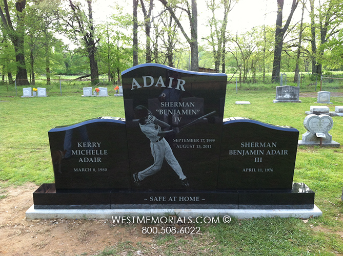 Black Granite Headstones : Adair family with large etched photo headstone in black