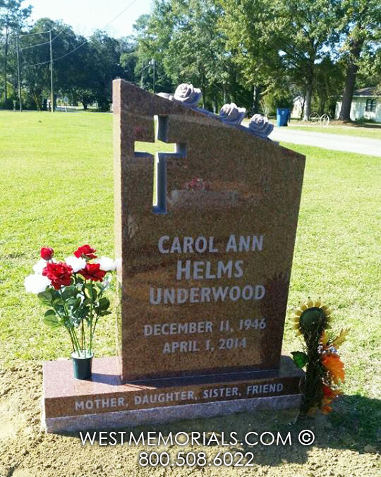 Red Granite Headstones : Red granite headstone with carved roses and cross