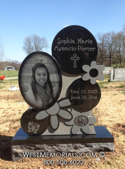 Black Granite Headstone With Floral Carvings And Photo