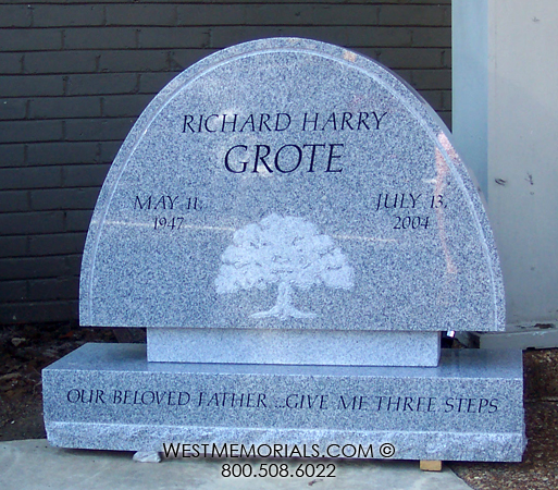 Grote Gray Granite Curved Headstone With Tree Etching