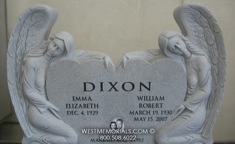 Granite Angel Heart : Dixon angel heart carved traditional headstone in gray