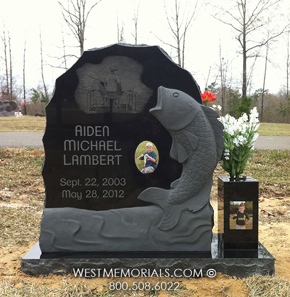 Lambert Granite Headstone With A Carved Fish By West Memorials
