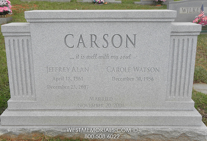 Gray Granite Companion Headstone With Carved Columns