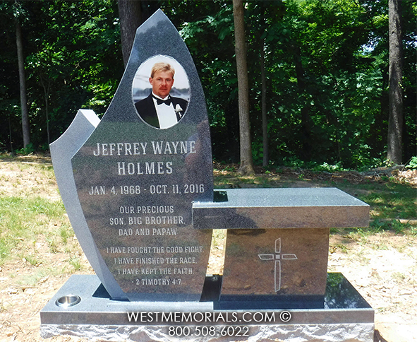 Charcoal Granite Headstone With Modern Bench Design