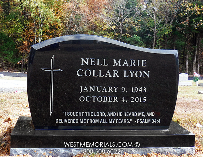 Black Granite Headstones : Black granite headstone with a cross design