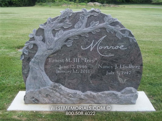 Monroe Tree Carved Traditional Headstone In Charcoal Granite