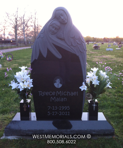 Malan Black Granite Headstone Carved Angel With Child