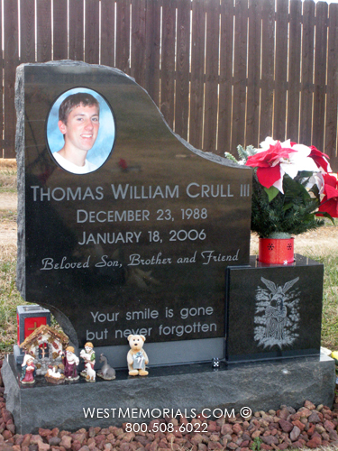 Crull Ceramic Photo Design Headstone In Black Granite - Ceramic photo on headstone