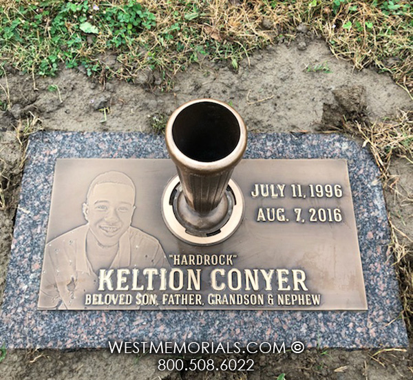 Custom Bronze Marker On Granite With Bronze Vase
