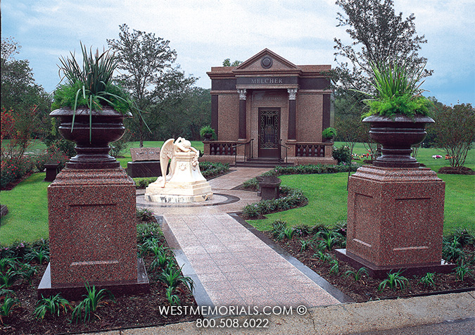 Granite Mausoleum With Angel Statues Family Mausoleums