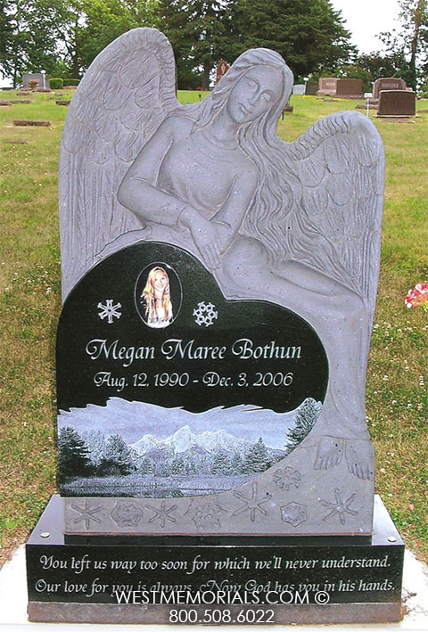 Granite Angel Heart : Angel headstones for graves with photos