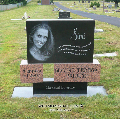 Laser Etched Headstones And Monuments Red Granite Headstones