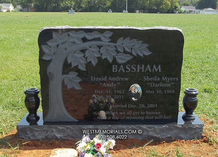 Granite Headstones Grave : Bassham with carved tree etching headstonein granite