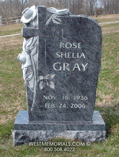 Granite Stone Monuments : Gray cross and rose carving design headstone in blue granite