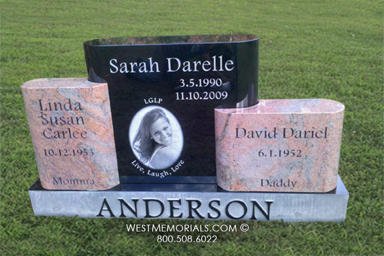 Anderson Etched Marker Amp Photo Headstone In Black And Pink