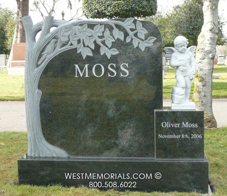 Moss Tree Carving Amp Marble Angel Statue Headstone