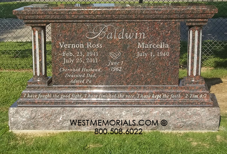 Stone Cemetery Columns : Baldwin with round columns headstone in brown and rust granite
