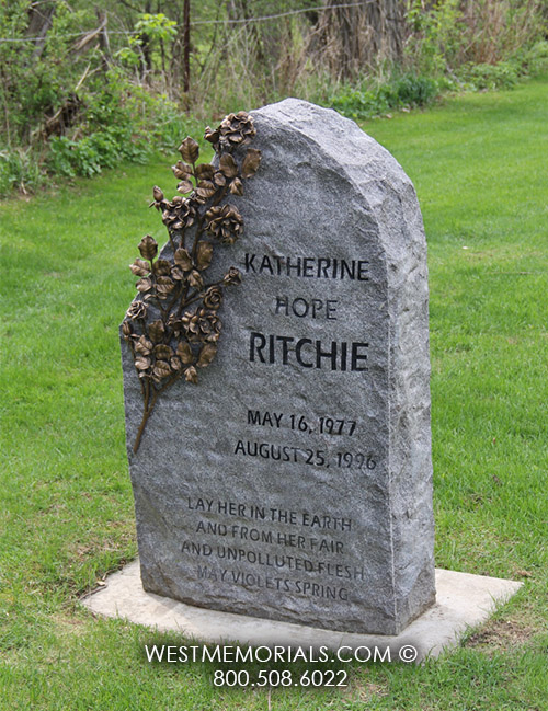 Granite Stone Monuments : Ritchie granite headstone with bronze roses by west