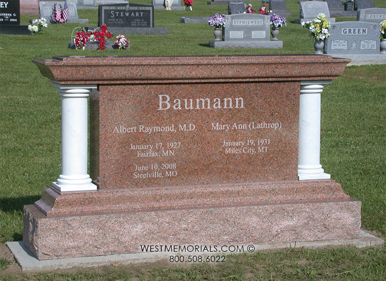 Granite Stone Monuments : Baumann with white marble columns headstone in sunset red