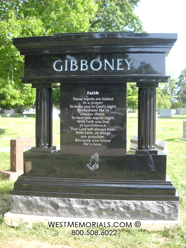 Stone Cemetery Columns : Gibboney large columns traditional design monument in