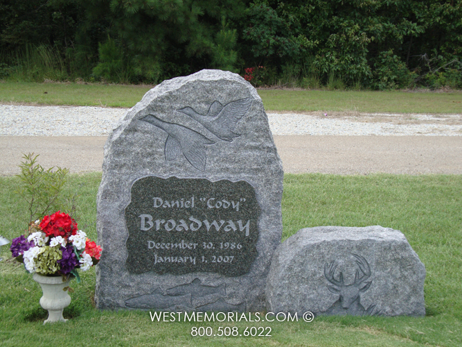 Broadway hand carved animals a bench headstone in granite