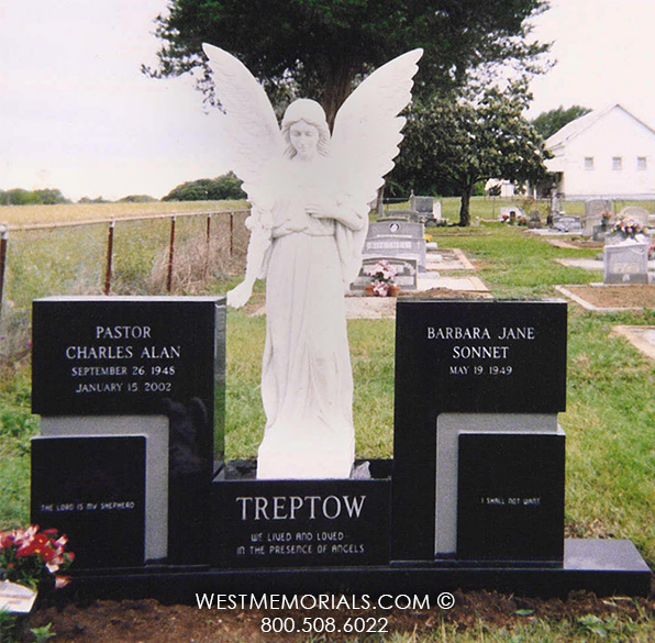 Black Granite Companion Headstone With White Marble Angel
