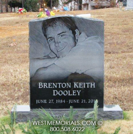 Black Granite Headstone With A Laser Etched Portrait