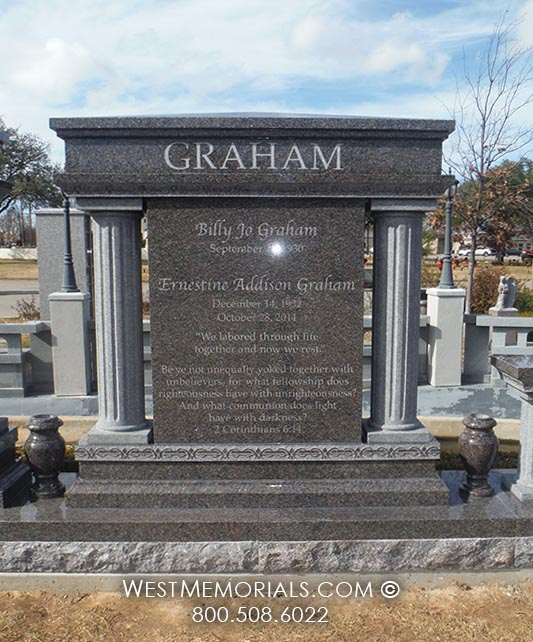Stone Cemetery Columns : Hall graham granite family monument with carved