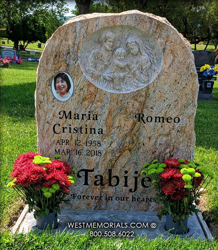 Tabije-kashmir-gold-granite-upright-West-Memorials-custom-headstone-cemetery-memorial-family-carving-companion-grave-beautiful-unique-tombstone-vase-flowers-tribute