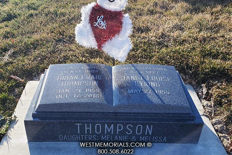 Thompson-charcoal-granite-book-West-Memorials-headstone-cemetery-stone-marker-custom-unique-beautiful-nationwide-companion-beautiful-gravestone-tombstone-grave-monument