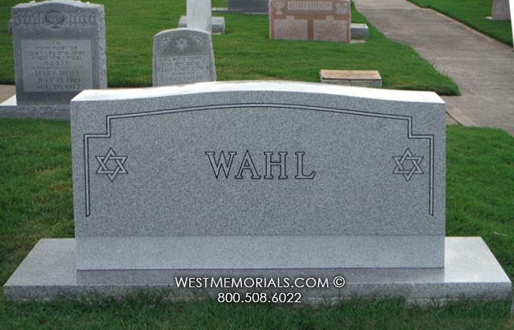 Wahl-headstone-gray-granite-star-David-family-simple-custom-traditional-west-memorials-Jewish-religious-upright-cemetery-stone-grave-simple-classic-graveyard-tribute