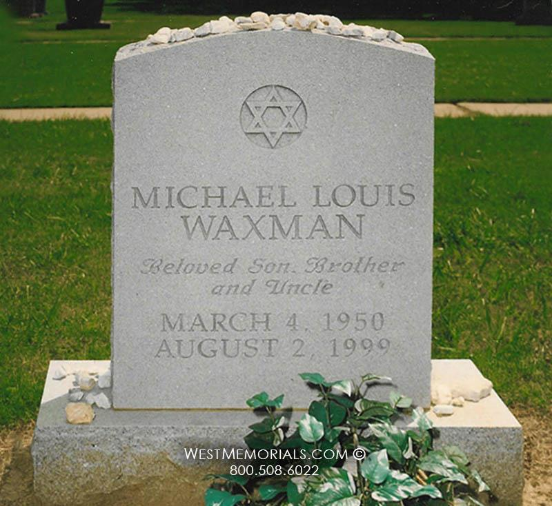 Waxman-gray-granite-Jewish-headstone-custom-star-of-david-tombstone-West-Memorials-cemetery-traditional-carved-grave-gravestone-upright-stone-tribute-funeral-tombstone