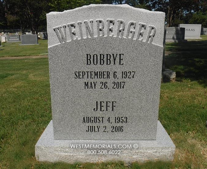 Weinberger-gray-granite-companion-headstone-carved-unique-West Memorials-stone-tribute-cemetery-grave-tombstone-upright-graveyard-memorial-nationwide-shipping-monument