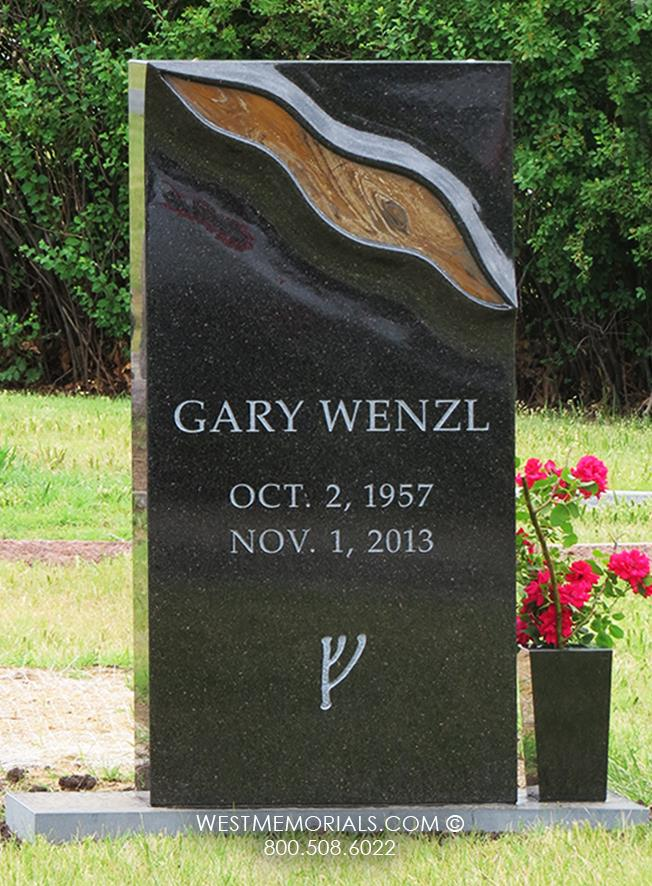Wenzl-black-granite-jasper-brown-gold-contemporary-modern-vertical-headstones-West-Memorials-vase-flower-tribute-unique-nationwide-shipping-custom-beautiful-grave