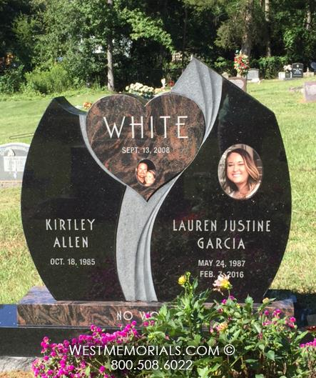 White-black-brown-granite-double-companion-modern-heart-contemporary-ceramic-photo-carved-companion-unique-custom-headstone-West-Memorials-beautiful-tribute-cemetery