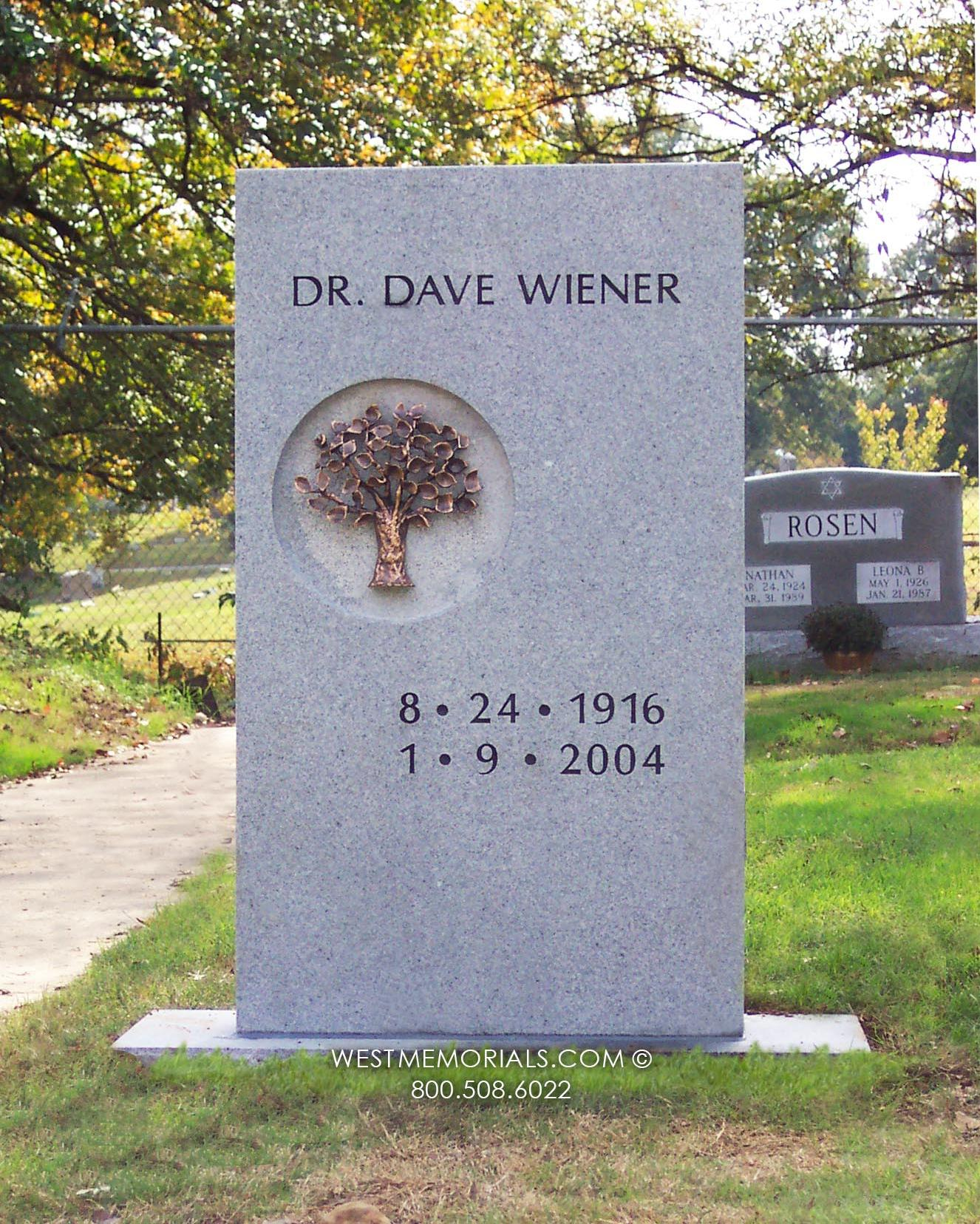 Wiener-headstone-gray-granite-bronze-tree-circle-simple-custom-West-Memorials-unique-memorial-stone-tribute-beautiful-tombstone-cemetery-tribute-grave