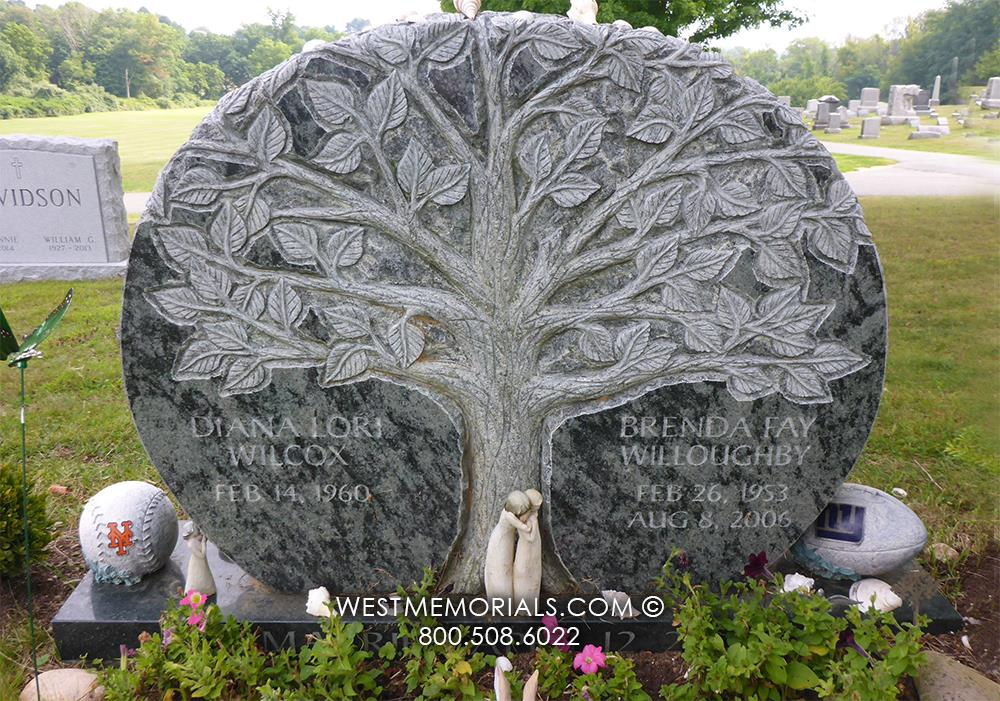Wilcox-tree-custom-West-Memorials-unique-headstones-cemetery-memorial-upright-green-granite-companion-nationwide-shipping-custom-cemetery-grave-gravestone-nature