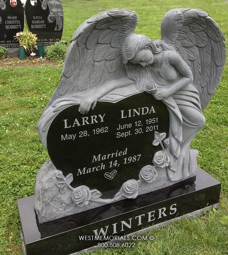 Winters-angel-West-Memorials-black-gray-granite-upright-custom-roses-headstones-spouse-companion-cemetery-tribute-husband-wife-beautiful-unique-graveyard-tombstone
